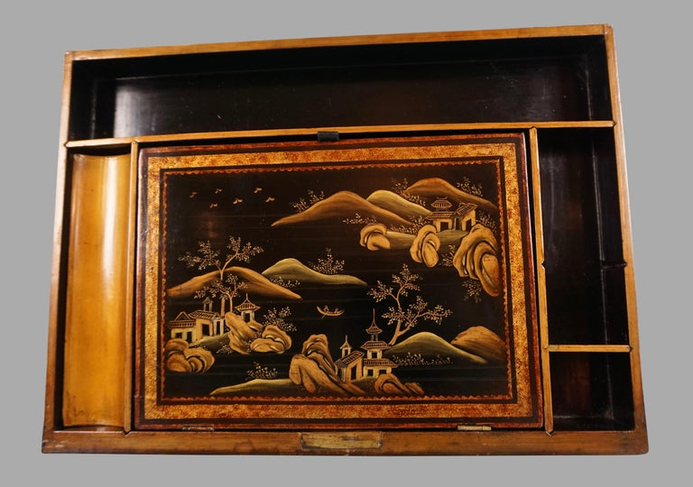 Chinese Export Black Lacquer Writing or Work Box on Later Custom Stand 4