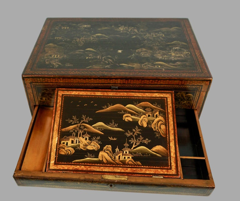 Chinese Export Black Lacquer Writing or Work Box on Later Custom Stand 3