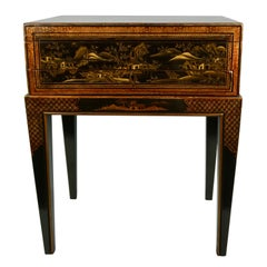 Chinese Export Black Lacquer Writing or Work Box on Later Custom Stand