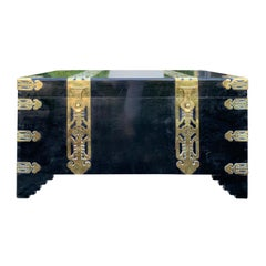 Chinese Export Black Lacquered Camphor Wood and Brass Trunk, circa 1900