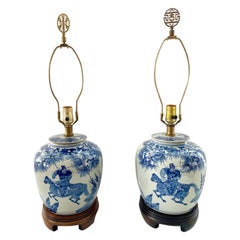 Chinese Export Blue and White Hand Painted Ginger Jar Lamps, Pair