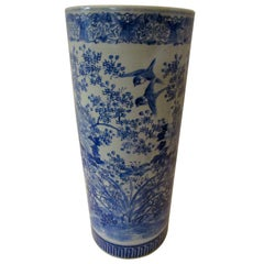 Chinese Export Blue and White Porcelain Umbrella Stand Vase