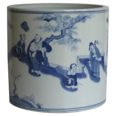 Chinese Export Blue & White Brush Pot or Bitong Porcelain, Late Qing Circa 1910
