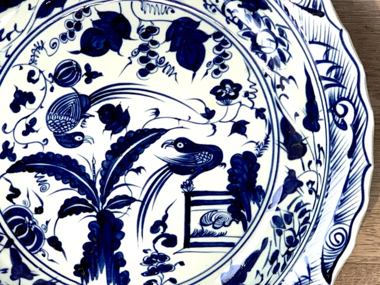 20th Century Chinese Export Blue and White Charger Bird Motif Charger For Sale