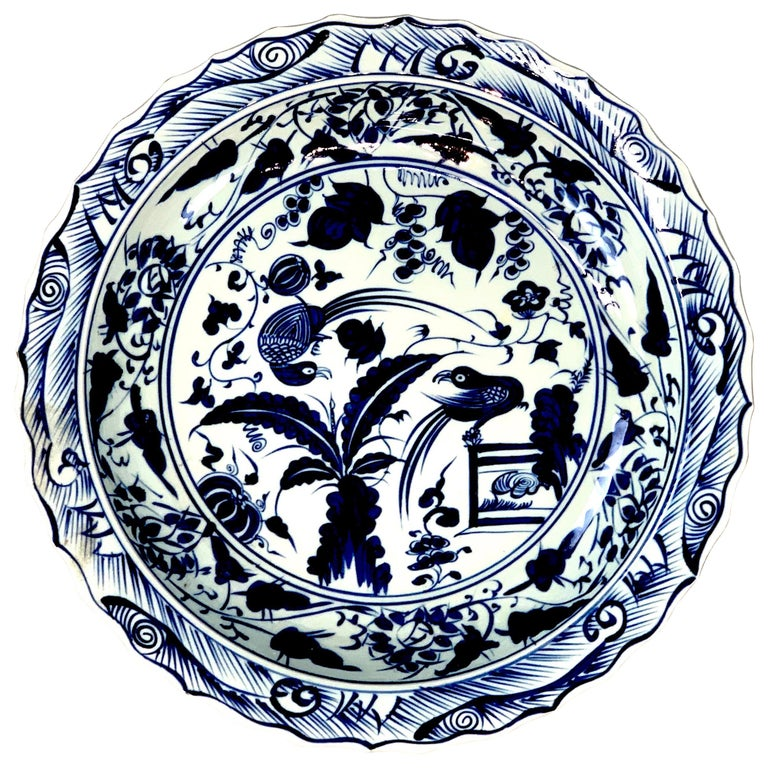 Chinese Export Blue and White Charger Bird Motif Charger For Sale