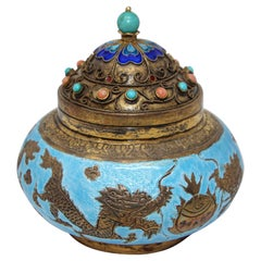 Chinese Export Brass Snuff Box with Turquoise Enamel Dragons and Beads Inlaid