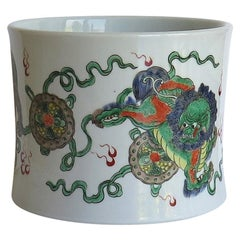 Chinese Export Brush Pot or Bitong Porcelain, Hand Painted with Three Lion Dogs