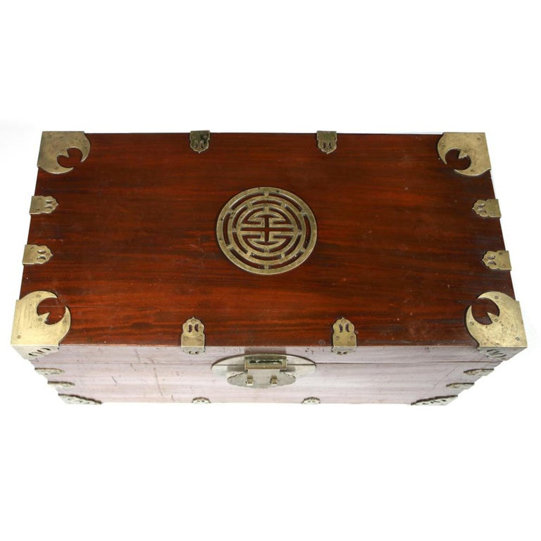 Chinese export camphor wood sailor's large brass-bound sea or campaign chest,