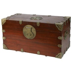 Chinese Export Camphor Wood Sailor's Large Brass-Bound Sea or Campaign Chest