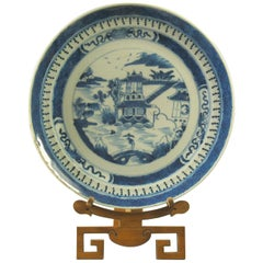 Chinese Export Canton Blue and White Plate, circa 1820