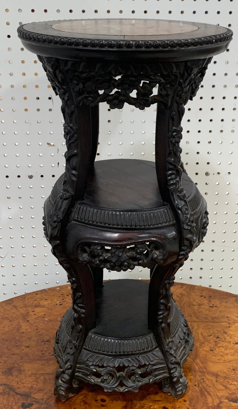 Chinese Export Carved Hardwood Three-Tier Marble Top Pedestal For Sale 5