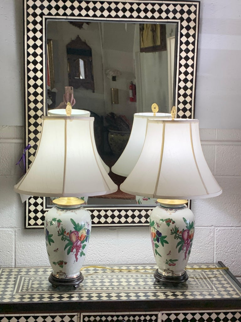 Chinese Export Ceramic Floral Table Lamp, a Pair For Sale 15