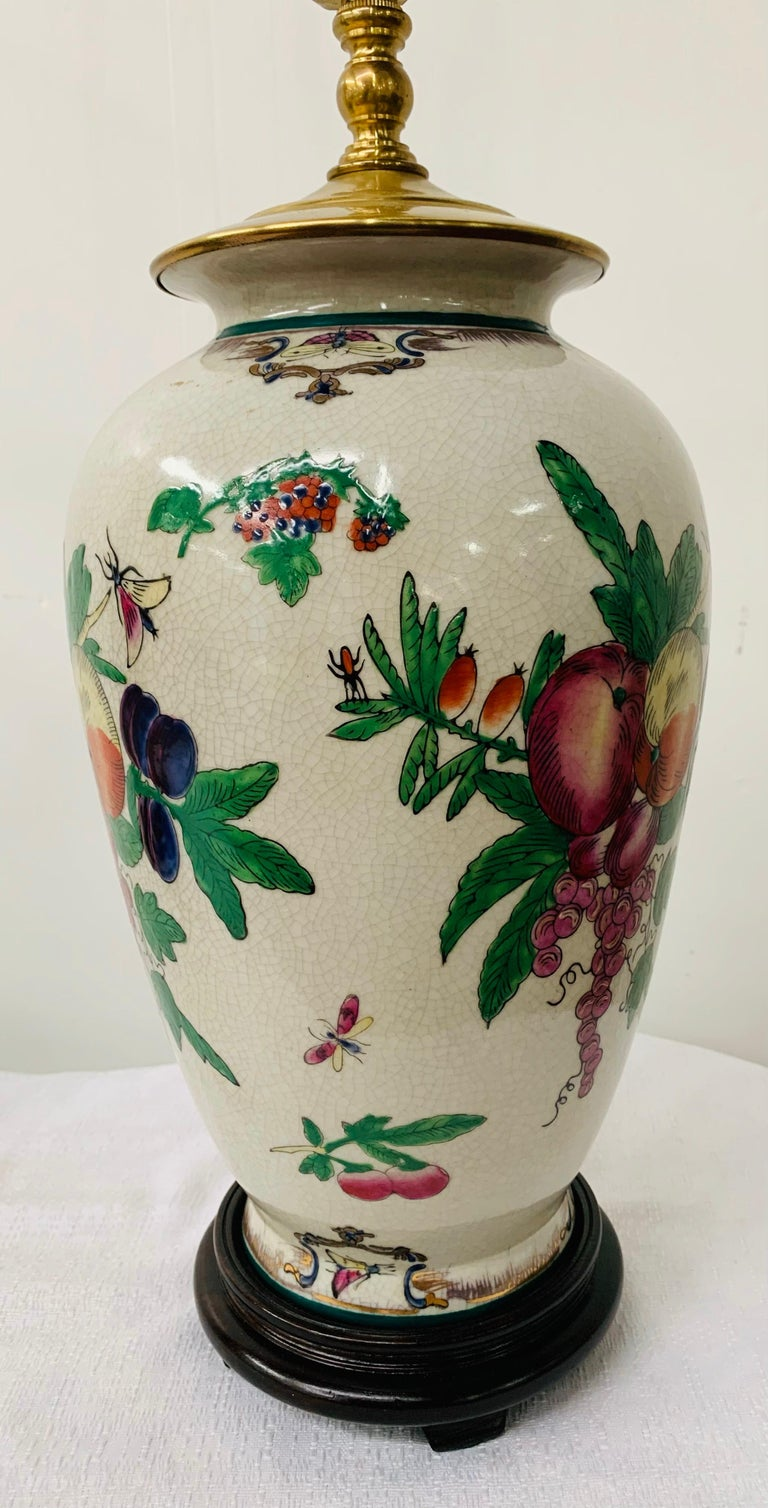 Chinese Export Ceramic Floral Table Lamp, a Pair In Good Condition For Sale In Plainview, NY