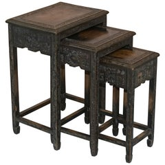 Chinese Export circa 1900 Nest of Three Tables Heavily Carved All-Over Ebonized