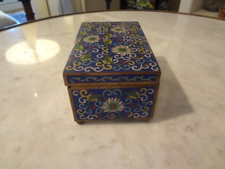 Brass Chinese Export Cloisonné Box Stamped, China For Sale