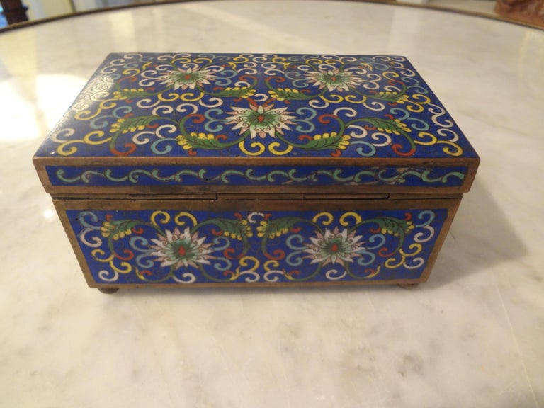 Chinese Export Cloisonné Box Stamped, China For Sale 1