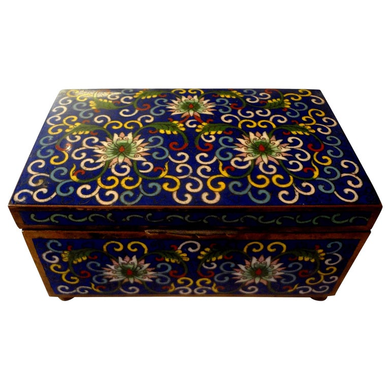 Chinese Export Cloisonné Box Stamped, China For Sale