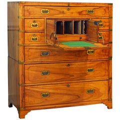 Chinese Export Colonial Camphor Wood Campaign Chest and Secretaire, circa 1840