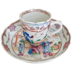 Chinese Export Cup and Saucer, London Decorated Qianlong, 1760-1780