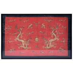 Chinese Export Dragon Motif Silk Embroidery