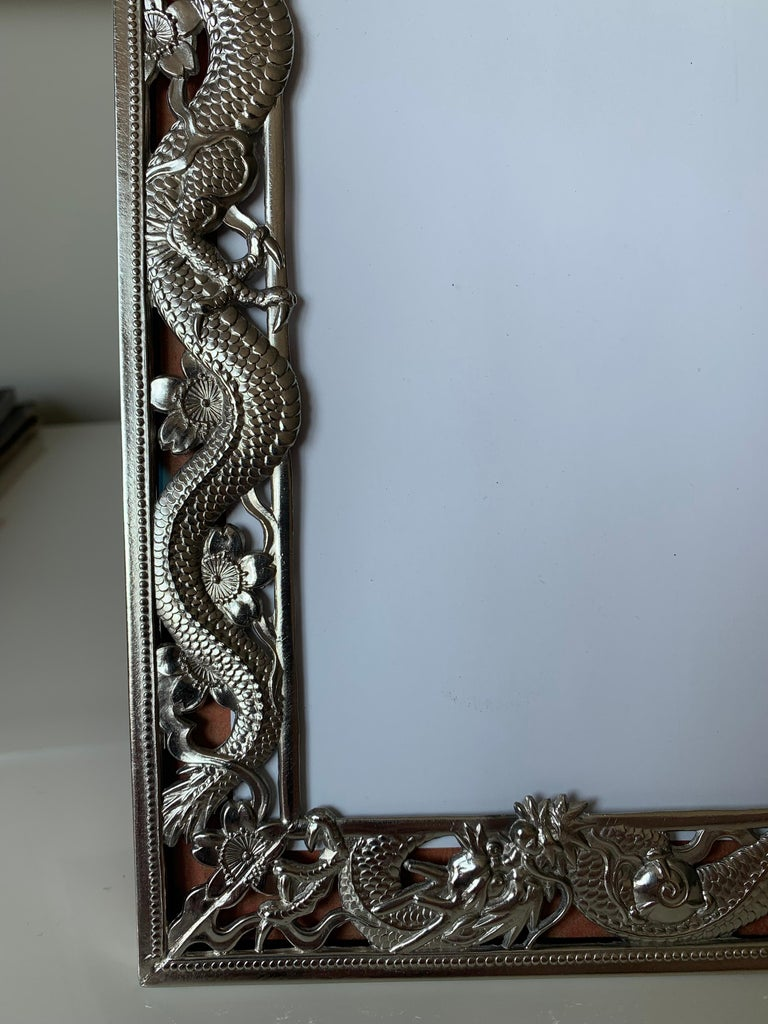 Chinese Export Dragon Motif Silver Plate Picture Frame