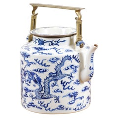 Chinese Export Early 20th Century Blue and White Porcelain Teapot with Dragons