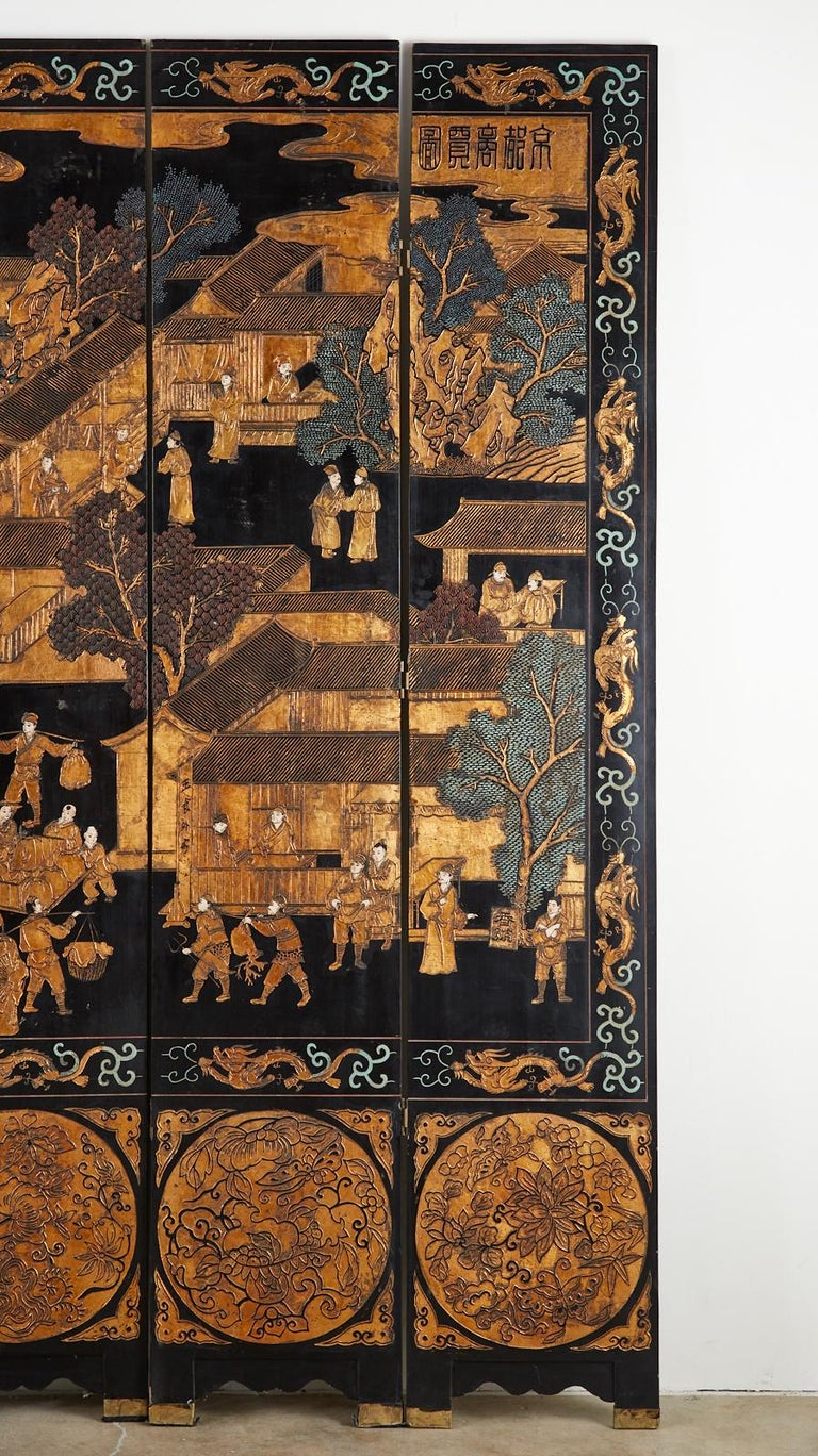 Chinese Export Eight-Panel Gilt Lacquered Coromandel Screen For Sale 6