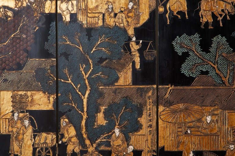 Chinese Export Eight-Panel Gilt Lacquered Coromandel Screen For Sale 7