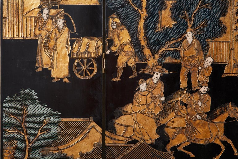 Chinese Export Eight-Panel Gilt Lacquered Coromandel Screen For Sale 8