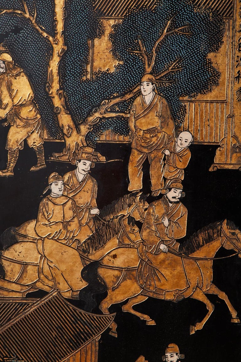 Chinese Export Eight-Panel Gilt Lacquered Coromandel Screen For Sale 12