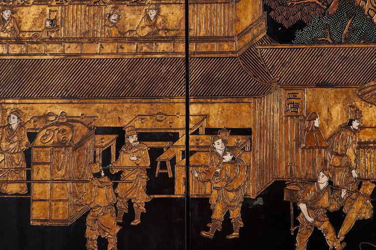 Chinese Export Eight-Panel Gilt Lacquered Coromandel Screen For Sale 14