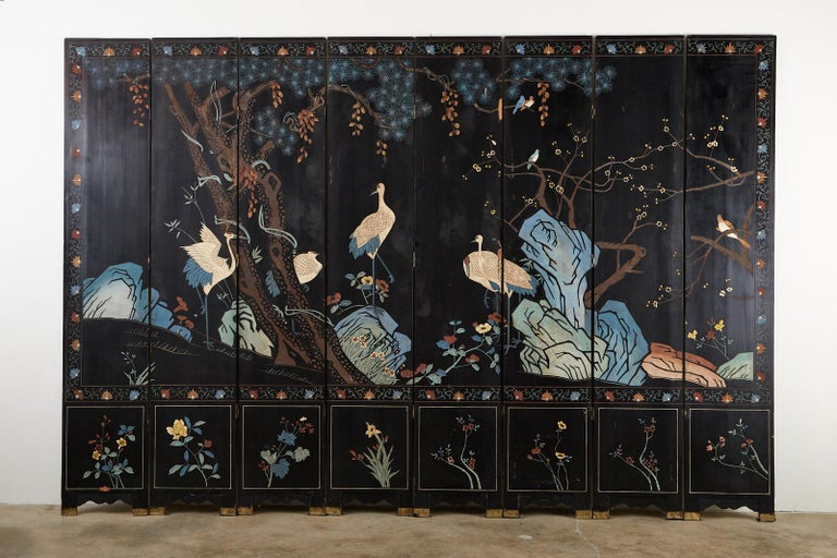 Chinese Export Eight-Panel Gilt Lacquered Coromandel Screen For Sale 15