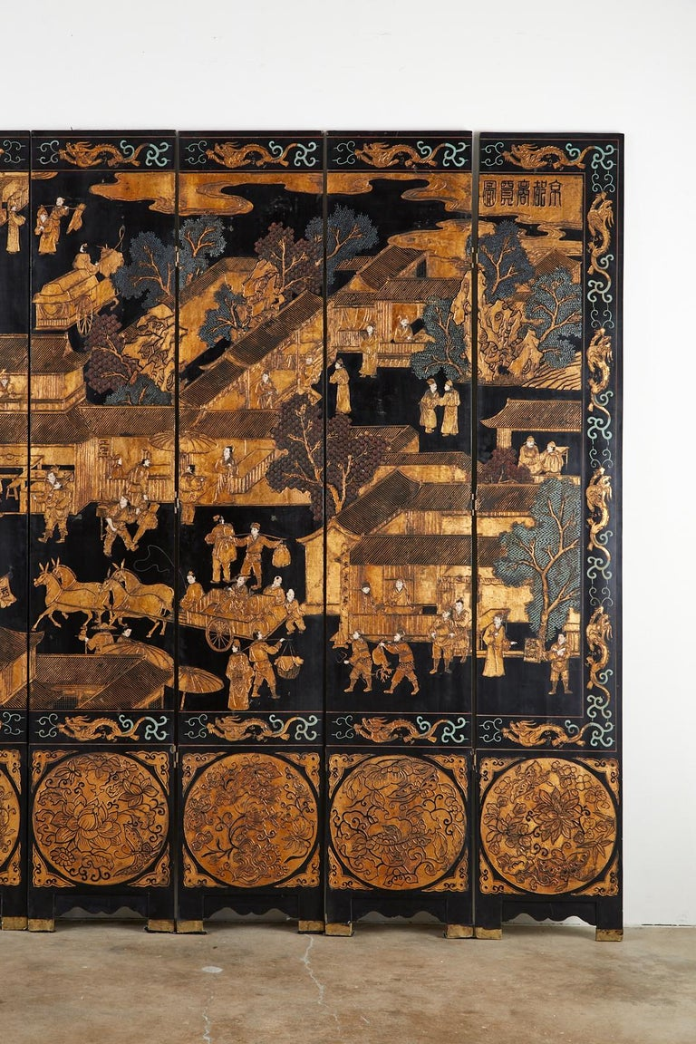 Wood Chinese Export Eight-Panel Gilt Lacquered Coromandel Screen For Sale