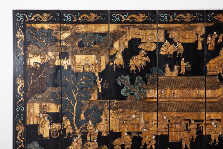 Chinese Export Eight-Panel Gilt Lacquered Coromandel Screen For Sale 1