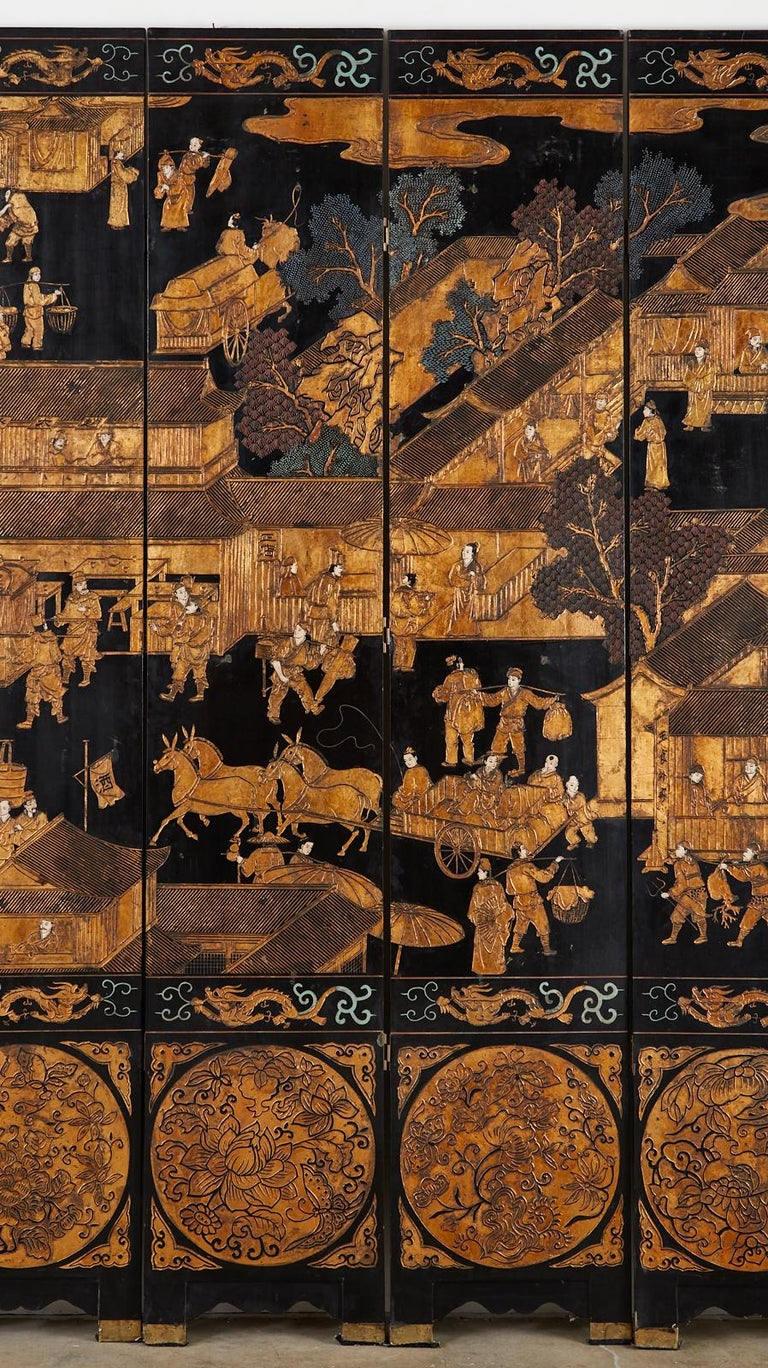 Chinese Export Eight-Panel Gilt Lacquered Coromandel Screen For Sale 5