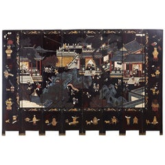 Chinese Export Eight-Panel Lacquer Coromandel Screen