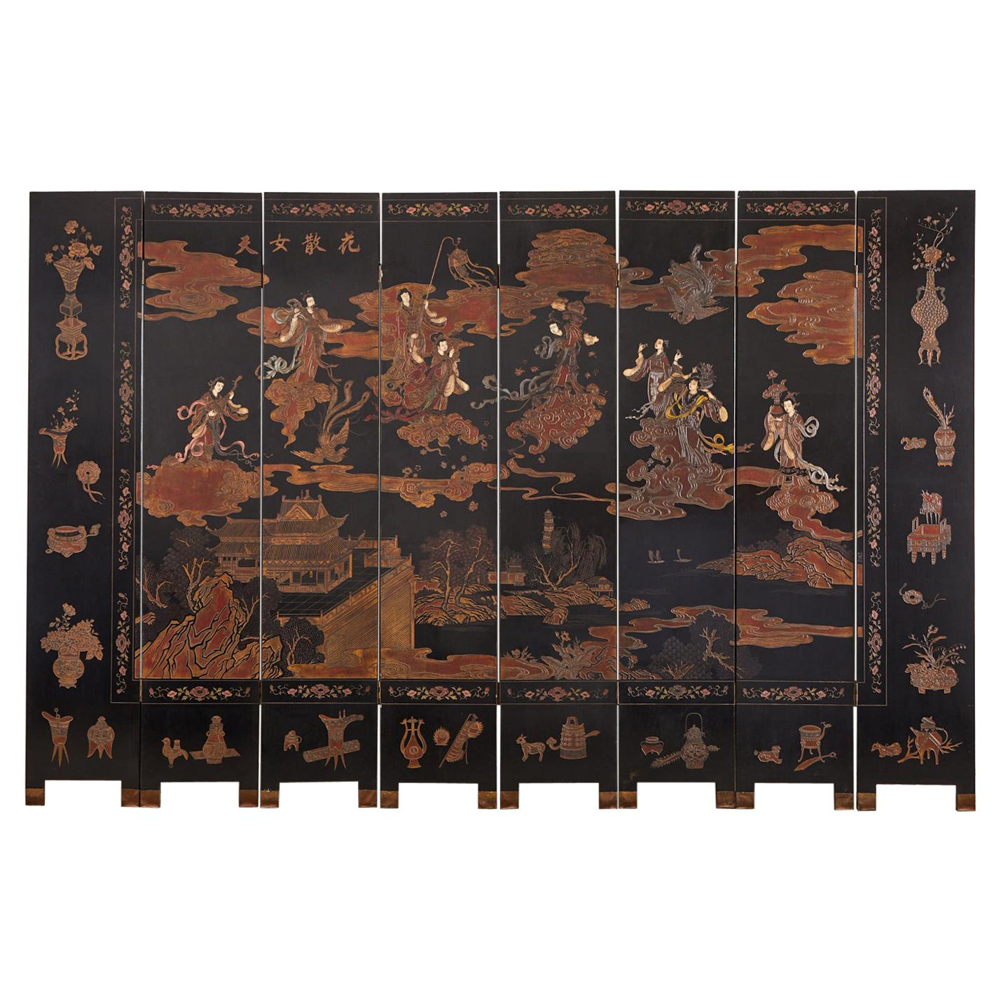 Chinese Export Eight Panel Lacquer Coromandel Screen of Xiwangmu