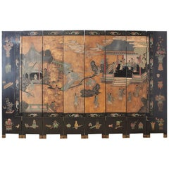 Chinese Export Eight-Panel Lacquer Gilt Coromandel Screen