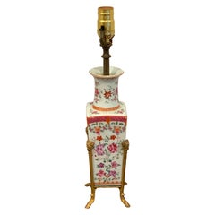 Chinese Export Famille Rose Ormolu Mounted Vase, Now as a Lamp
