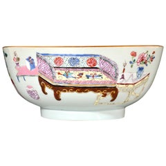 Export Famille Rose Porcelain Bowl with Chinese Furniture, circa 1735-1745