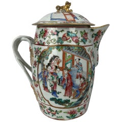 Chinese Export Famille Rose Porcelain Cider Jug with Cover