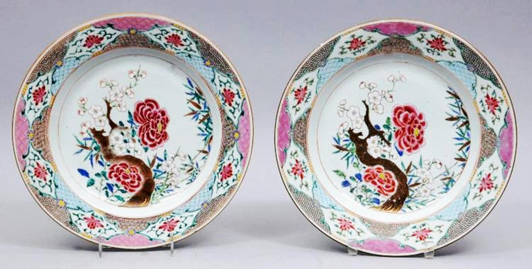 Chinese Export Famille Rose Porcelain LVarge Dishes, circa 1765-1775 In Good Condition For Sale In Downingtown, PA