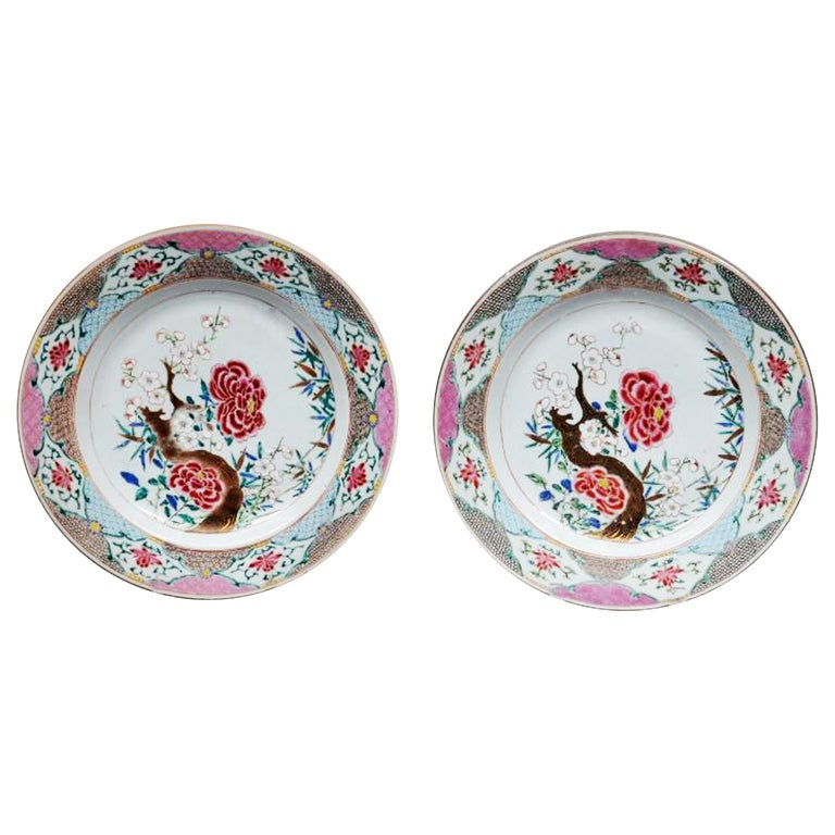 Chinese Export Famille Rose Porcelain LVarge Dishes, circa 1765-1775 For Sale
