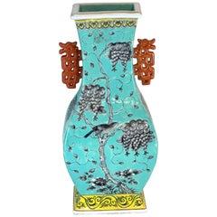 Chinese Export Famille Verte Turquoise Hu Vase, circa 1900