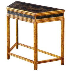 Chinese Export Faux Bamboo Gilt Lacquered Console Table