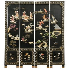 Chinese Export Four Panel Carved Soapstone Coromandel Screen