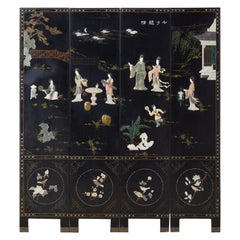 Chinese Export Four Panel Carved Soapstone Lacquer Screen
