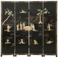 Chinese Export Four Panel Carved Soapstone Lacquered Screen