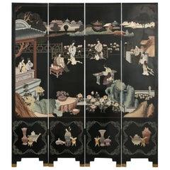 Chinese Export Four Panel Coromandel Screen Pastel Beauties