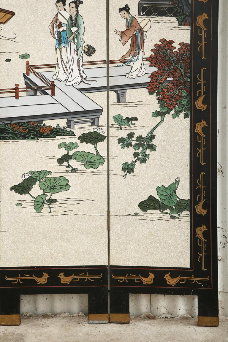 Chinese Export Four Panel Coromandel Screen Pearlescent Landscape For Sale 4